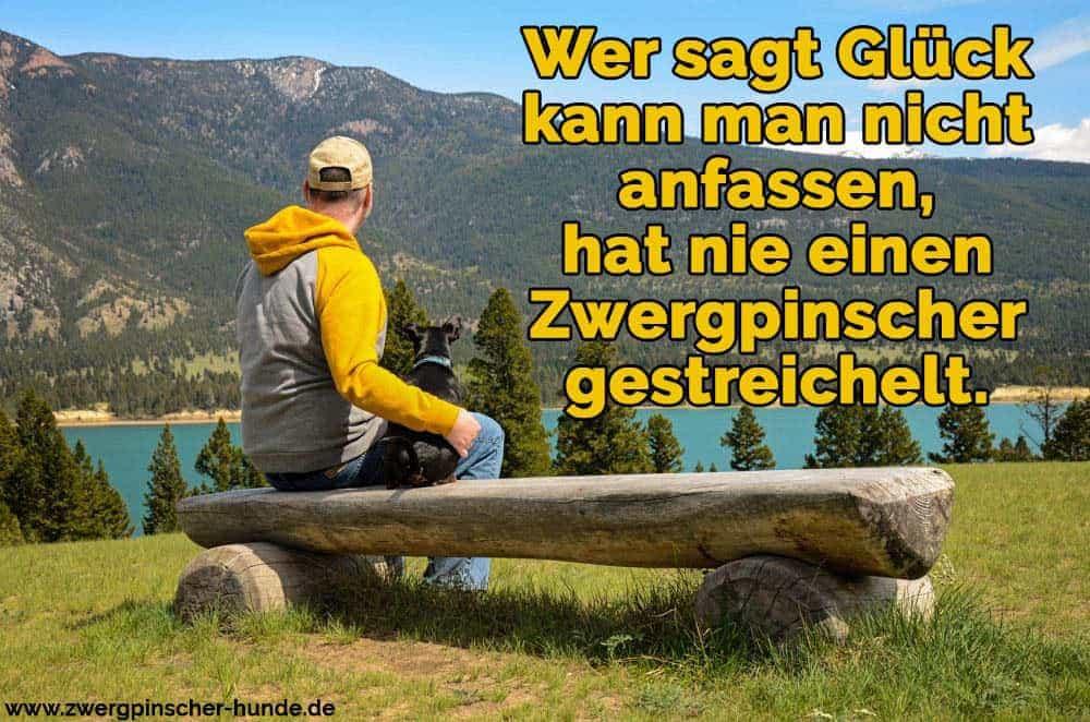 Ein Mann und sein Zwergpinscher sitzen auf der Bank in den Bergen
